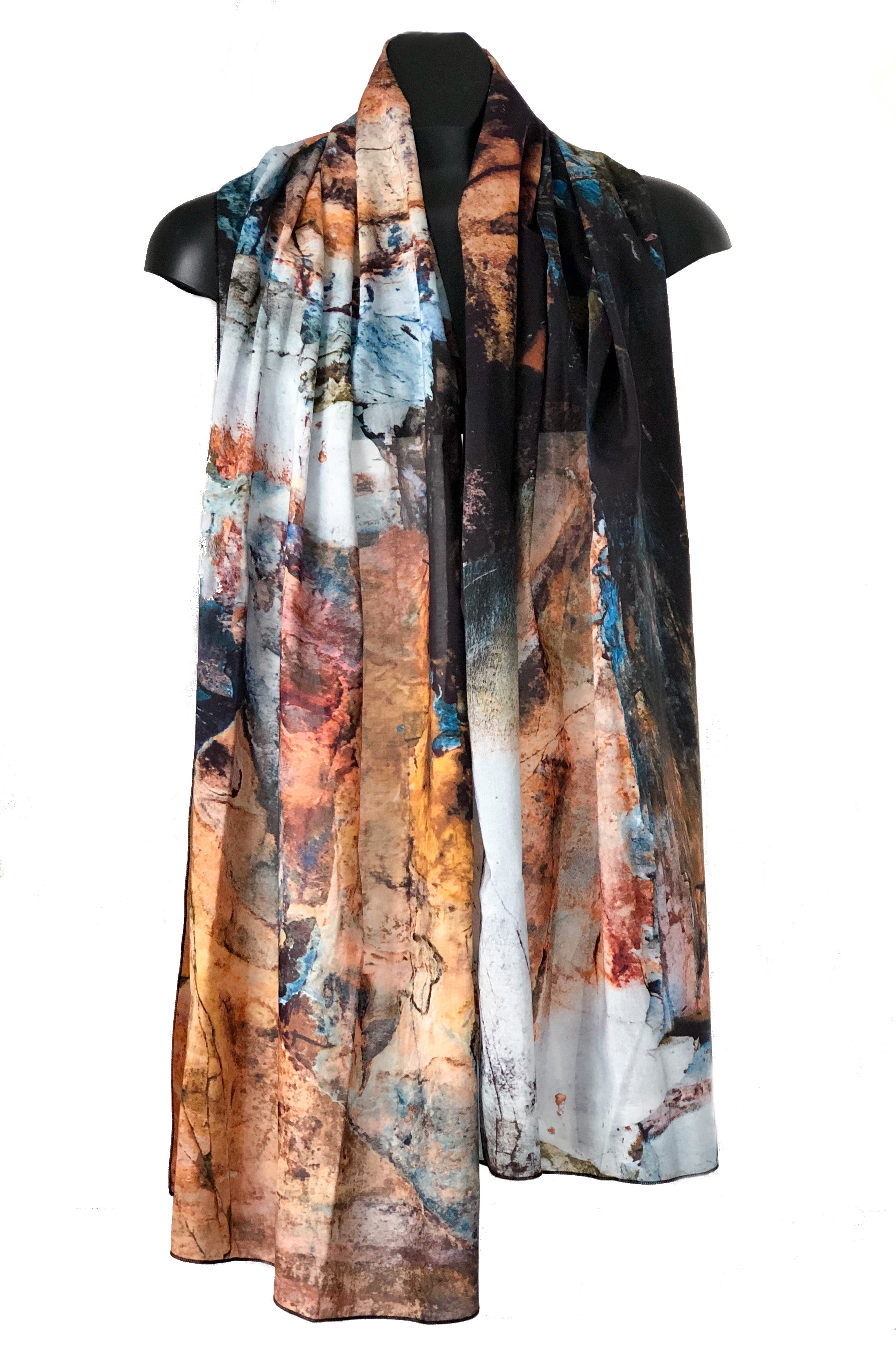 """Stone Forest & Sky"" Cotton/Silk Voile Wrap"