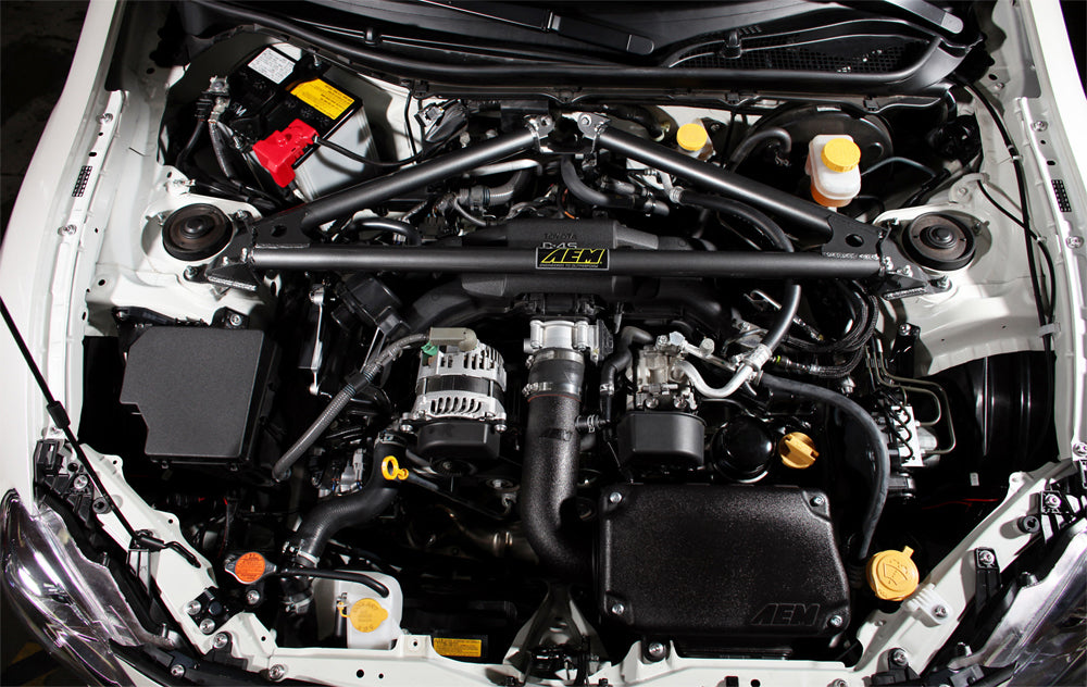 BRZ FR-S Engine Bay With AEM 29-0009 Strut Tower Bar Installed