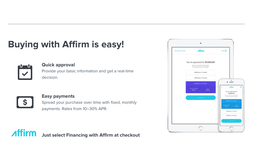 affirm payment subject to credit check and approval down payment may be required for purchases under 100 limited payment options are available