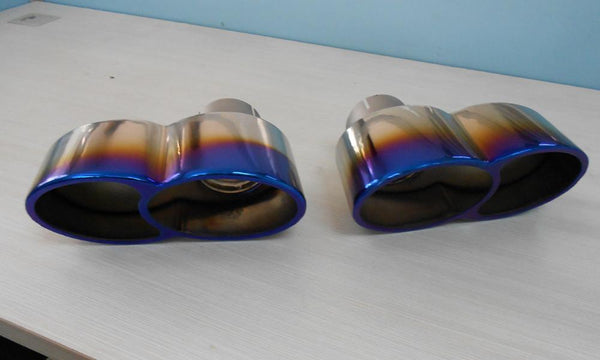 Quad Oval Exhaust Tips Polished Titanium Porsche 997 Turbo 07-09  by Agency Power
