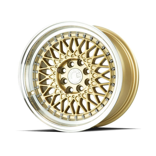 "AodHan AH05 Wheels - 4x100/114.3 15x8.0"" +20mm Offset - Gold w/Machined Lip"