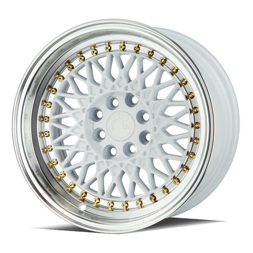 "AodHan AH05 Wheels - 4x100/114.3 15x8.0"" +20mm Offset - White w/ Machined Lip"