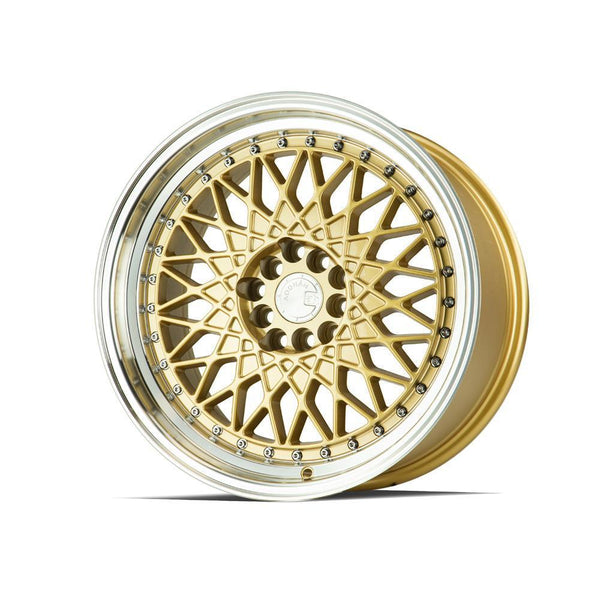 "AodHan AH05 Wheels - 5x100/114.3 17x9.0"" +25mm Offset - Gold w/Machined Lip"