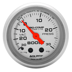 Autometer Ultra-Lite 52mm 30 PSI Mechanical Boost Gauge | (4303)