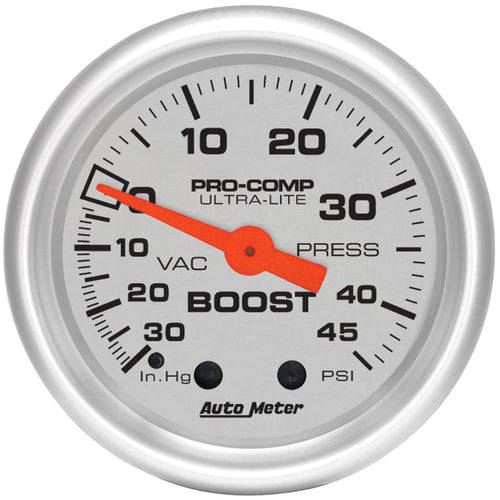 Autometer Ultra-Lite 52mm 30 IN HG/45 PSI Mechanical Boost/Vacuum Gauge | (4308)