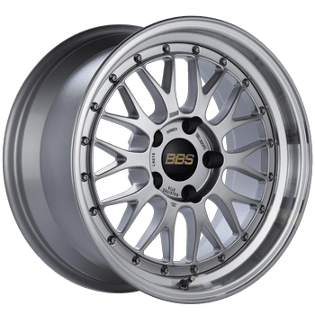 "BBS LM Series 5x120 17x8.5"" +18mm Offset Diamond Silver Wheels"