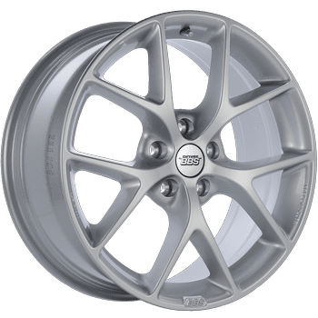 "BBS SR Series 5x112 17x7.5"" +35mm Offset Bright Silver Wheels"