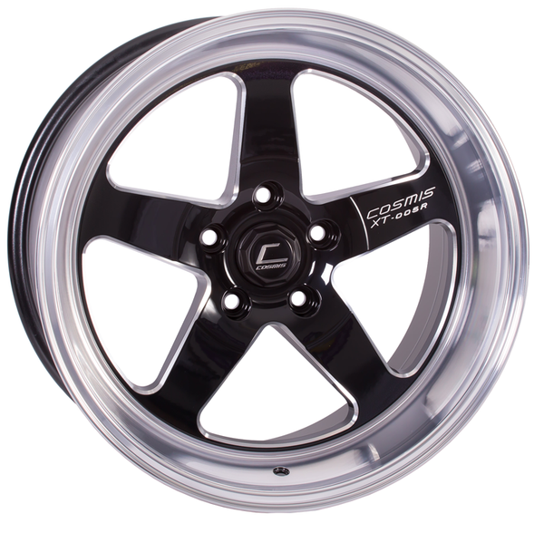 Cosmis Racing XT-005R Wheel Black w/ Machined Lip 18x9 +25mm 5x100 (XT005R-1890-25-5x100-BML)