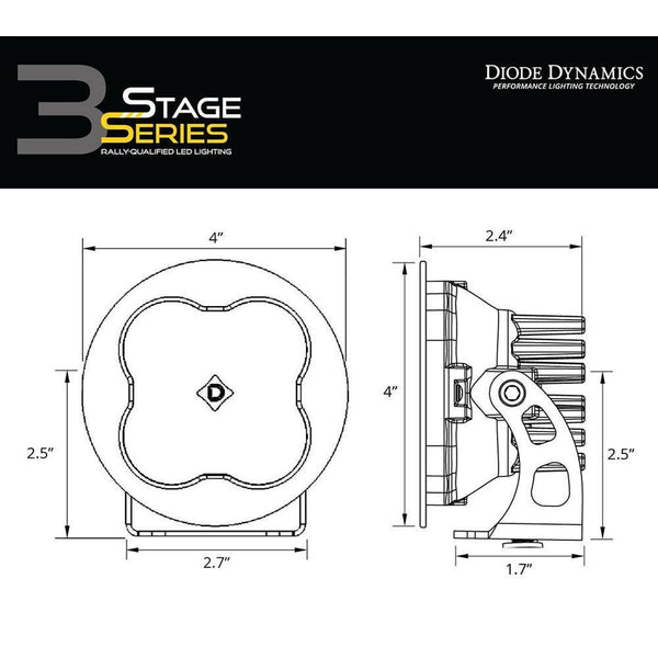 "Diode Dynamics SS3 3"" Round Yellow LED Pod - Single"