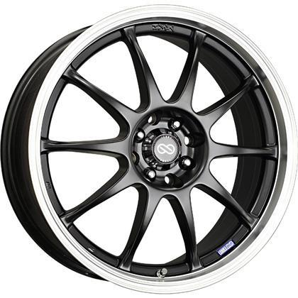 J10 15x6.5 4x100/114.3 38mm Offset 72.62mm Bore Dia Matte Black w/ Machined Lip Wheel by Enkei - Modern Automotive Performance