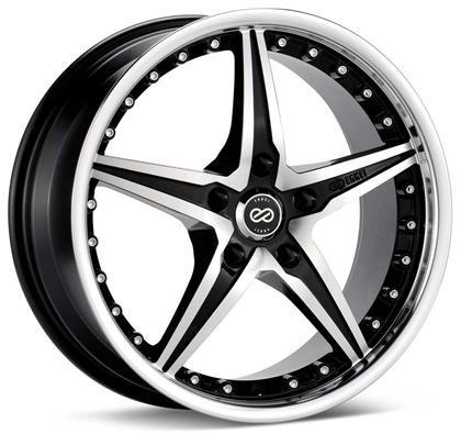 L-SR 18x8 5x112 Bolt Pattern 40mm Offset 72.6 Bore Dia Black Machined Wheel by Enkei - Modern Automotive Performance