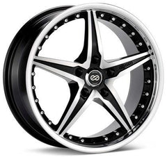 L-SR 18x8 5x112 Bolt Pattern 40mm Offset 72.6 Bore Dia Black Machined Wheel by Enkei
