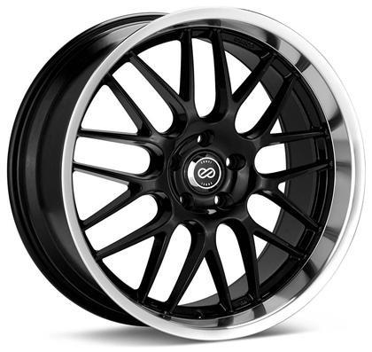 Lusso 18x8 45mm Offset 5x112 Bolt Pattern 72.6 Bore Black w/ Machined Lip Wheel by Enkei - Modern Automotive Performance