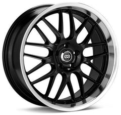 Lusso 18x8 45mm Offset 5x112 Bolt Pattern 72.6 Bore Black w/ Machined Lip Wheel by Enkei