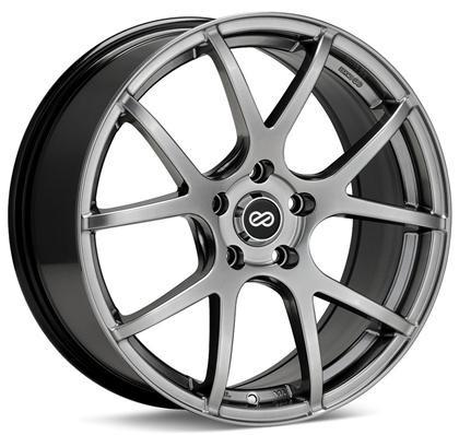 M52 18x8 40mm Inset 5x114.3 Bolt Pattern 72.6mm Bore Dia Hyper Black Wheel by Enkei - Modern Automotive Performance