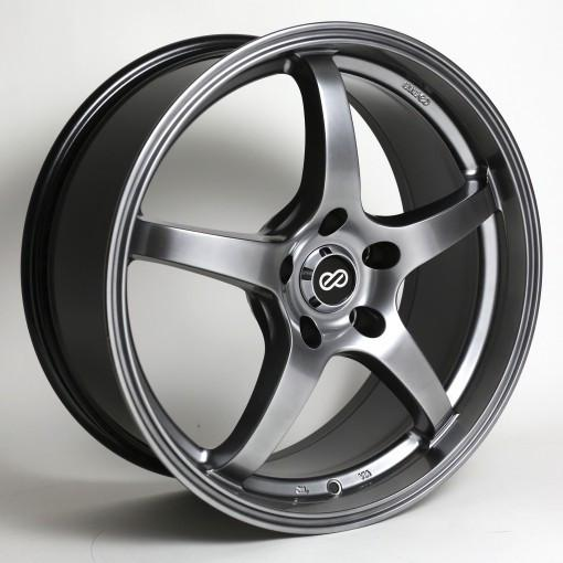 VR5 17x8 45mm Offset 5x100 Bolt Pattern 72.6 Bore Hyper Black by Enkei - Modern Automotive Performance