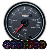 GlowShift Black 7 Color Oil Pressure Gauge - Modern Automotive Performance