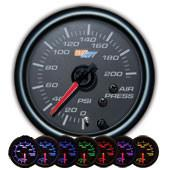 GlowShift Black 7 Color 200 PSI Air Pressure Gauge - Modern Automotive Performance