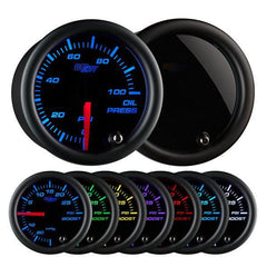GlowShift Tinted 7-Color Oil Pressure Gauge 0-100 PSI (GS-T704)