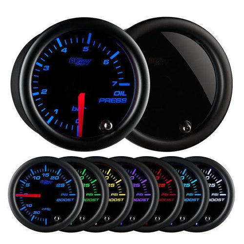 GlowShift Tinted 7-Color Oil Pressure Gauge 0-7 BAR (GS-T704-BAR)