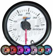 GlowShift White 7 Color 35 PSI Boost Gauge - Modern Automotive Performance