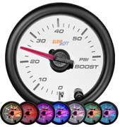 GlowShift White 7 Color 60 PSI Boost Gauge - Modern Automotive Performance