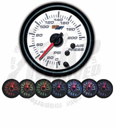 GlowShift White 7 Color 200 PSI Air Pressure Gauge - Modern Automotive Performance