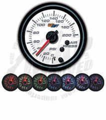 GlowShift White 7 Color 200 PSI Air Pressure Gauge
