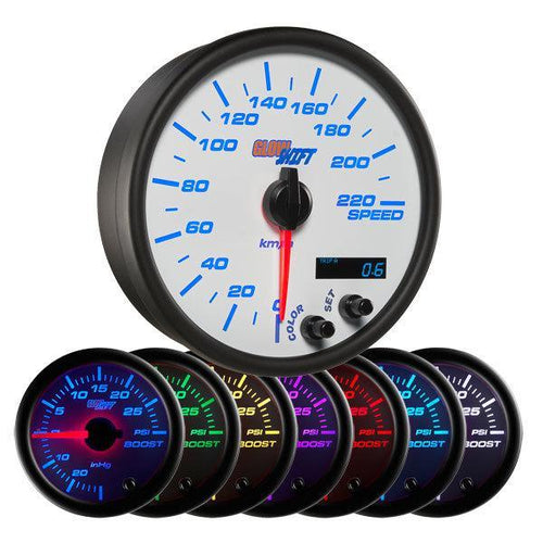 "GlowShift White 7-Color 3-3/4"" In-Dash Speedometer Gauge 0-220 KMH (GS-W717-KM)"