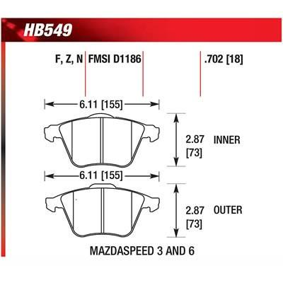 Hawk Performance HPS Brake Pads | Multiple Fitments (HB549F.702)