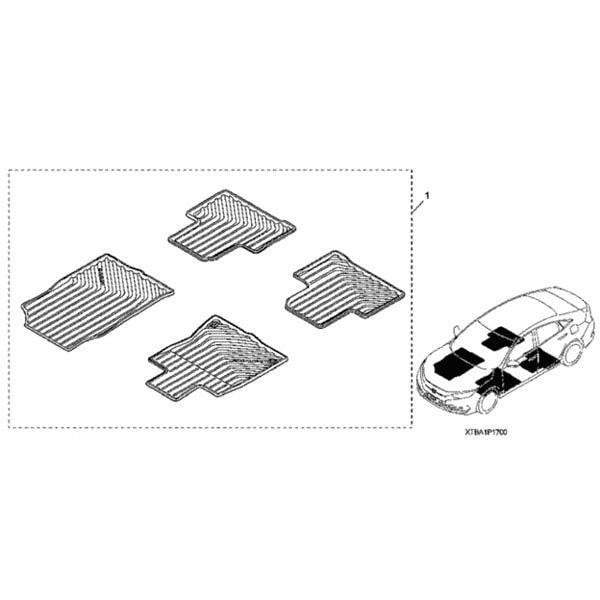 Honda OEM All Season Floor Mat Set | 2016-2020 Honda Civic Sedan/Hatch (08P17-TBA-100)