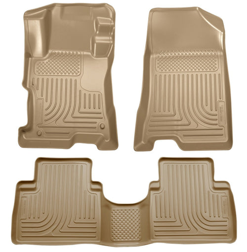 2008-2012 Honda Accord (4DR) WeatherBeater Combo Tan Floor Liners (One Piece for 2nd Row) by Husky Liners (98403) - Modern Automotive Performance