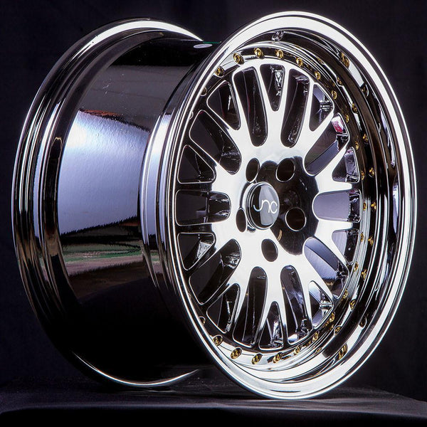 "JNC JNC001 Wheels - 5x100/114.3 18x9.5"" +25mm Offset - Platinum w/ Gold Rivets"