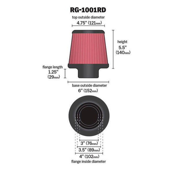 K&N Adjustable Fitting Universal Air Filter (RG-1001RD)
