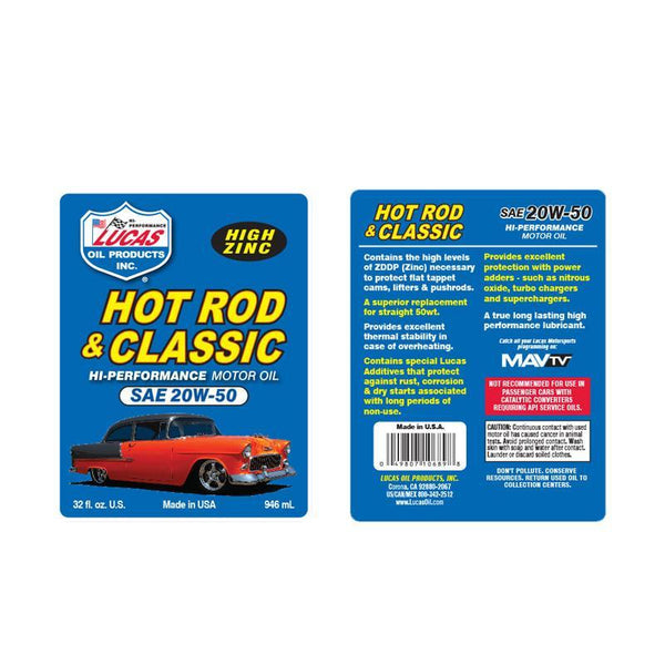 Lucas Oil Hot Rod & Classic Car SAE 20W-50 Motor Oil