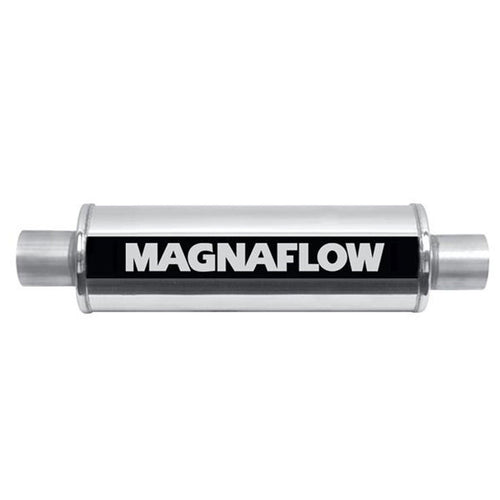 "Stainless Steel Muffler 3"" In/Out 409SS 5x5x14 5"" Round C/C by MagnaFlow - Modern Automotive Performance"