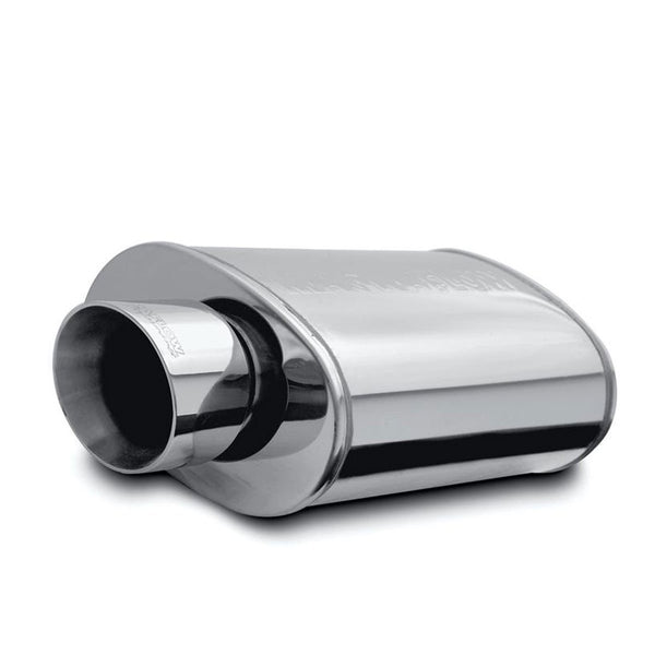 "High-Flow Stainless Steel Muffler Oval 2.5"" w Tip SS Single/Dual by MagnaFlow - Modern Automotive Performance"