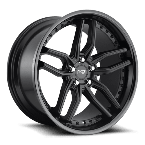 "Niche M194 Methos 5x114.3 20"" Matte Black w/ Gloss Black Lip Wheels"