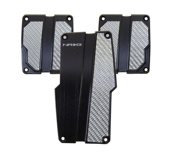 NRG Brushed Aluminum Sport Pedal Black w/ Silver Carbon MT - Modern Automotive Performance