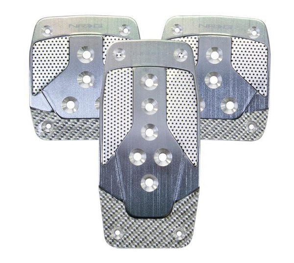 NRG Aluminum Sport Pedal Gun Metal w/ Silver Carbon MT - Modern Automotive Performance