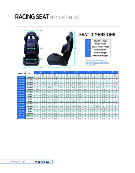 NRG Carbon Fiber Bucket Seat - Large (RSC-300)