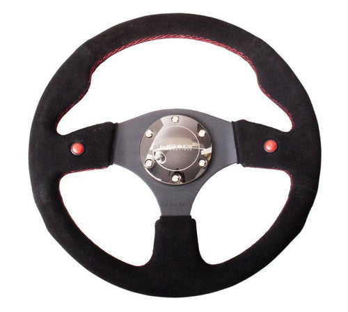 NRG 320mm Sport Leather Steering Wheel w/ Blue Leather Trim - Modern Automotive Performance