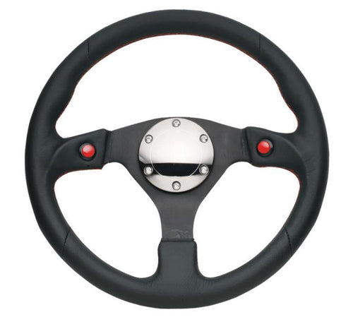 NRG 320mm Sport Leather Steering Wheel w/ Dual Button