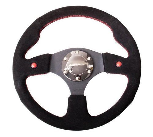 NRG 320mm Sport Suede Steering Wheel w/ Dual Button