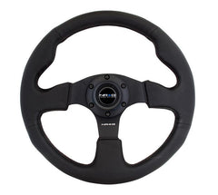 NRG 320mm Sport Leather Steering Wheel w/ red stitch