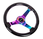NRG Black Sparkle Steering Wheel w/ Neochrome Center (RST-036BSB-MC)