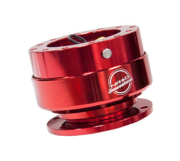 NRG Steering Wheel Quick Release Kit Gen 2.0 - Red Body/Titanium Chrome Ring - Modern Automotive Performance