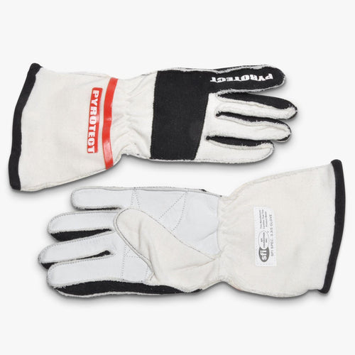 Pyrotect SFI-5 Pro Series 2-Layer Reverse Stitch Racing Gloves - White (G3040)