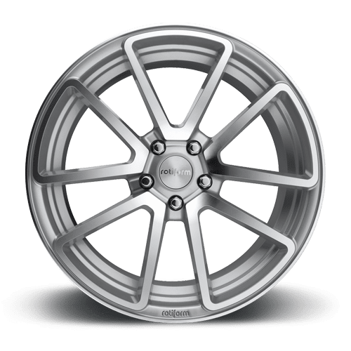 "Rotiform SPF 5x120 18x8.5"" +35mm Offset Silver & Machined Wheels"