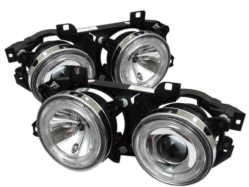 Spyder Auto  BMW E34 5-Series 89-94 / BMW E32 7-Series 88-92 Projector Headlights - WILL NOT FIT 750 - LED Halo - Chrome - High H1 (Included) - Low H1 (Included) - Modern Automotive Performance